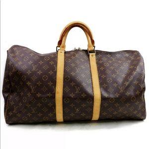 Auth Louis Vuitton Keepall Bandoliere 55